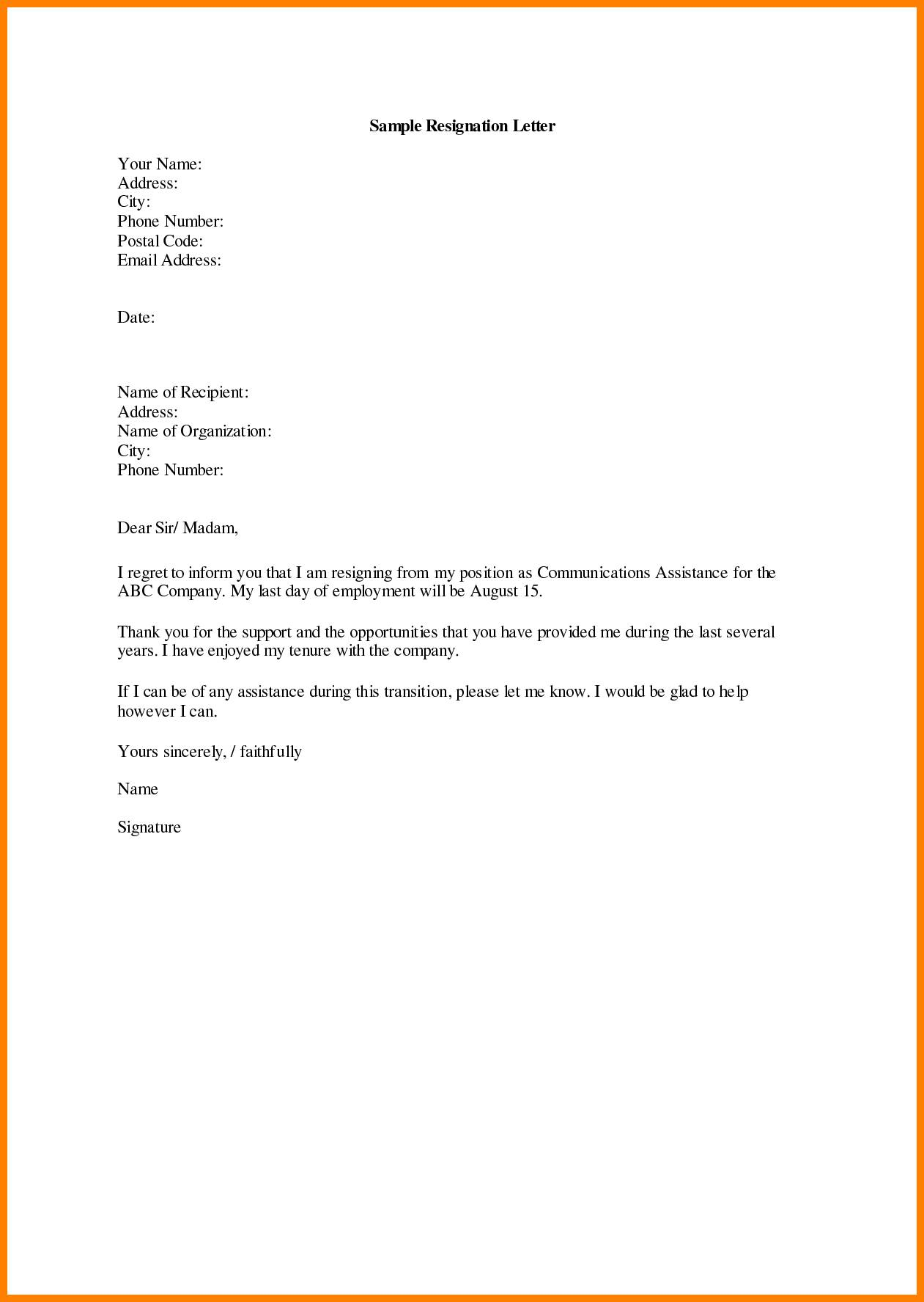 Write Resignation Letter Template
