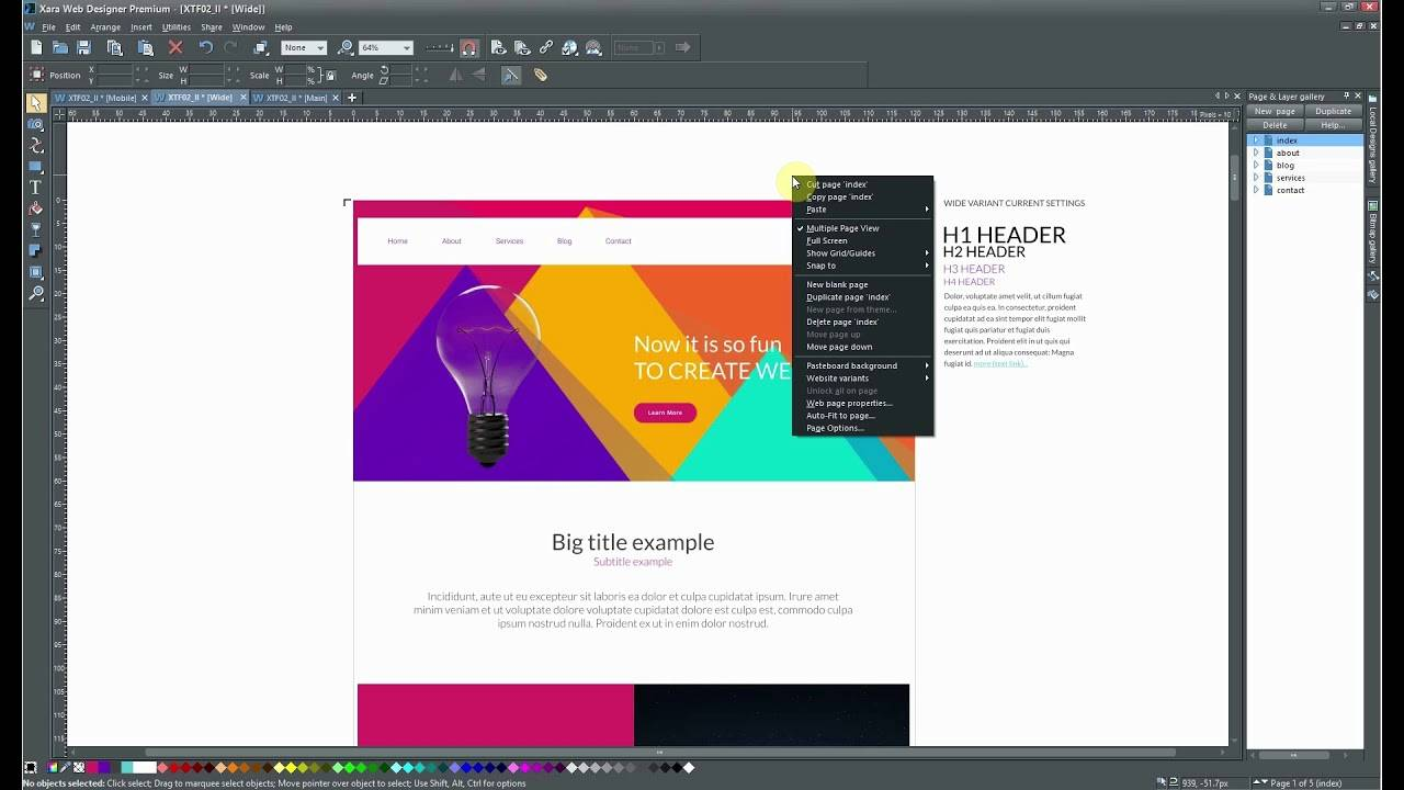 Xara Web Designer Change Template