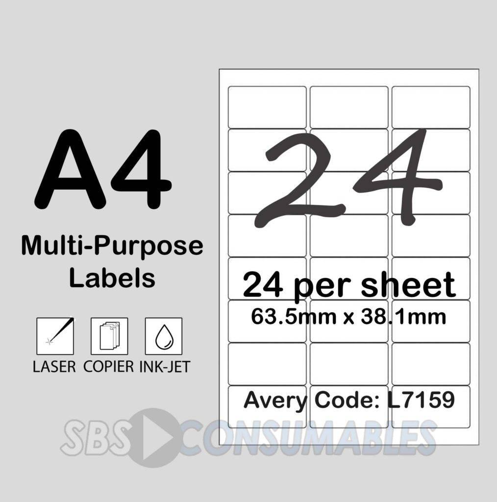 Xerox Labels 24 Per Sheet Template