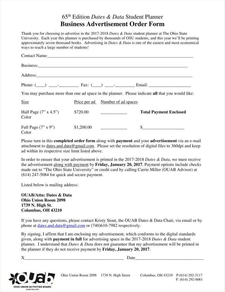 Yearbook Ad Order Form Template