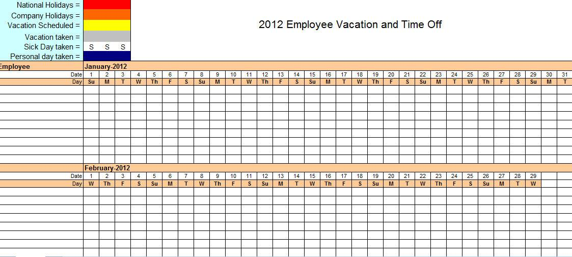 Yearly Employee Vacation Calendar Template