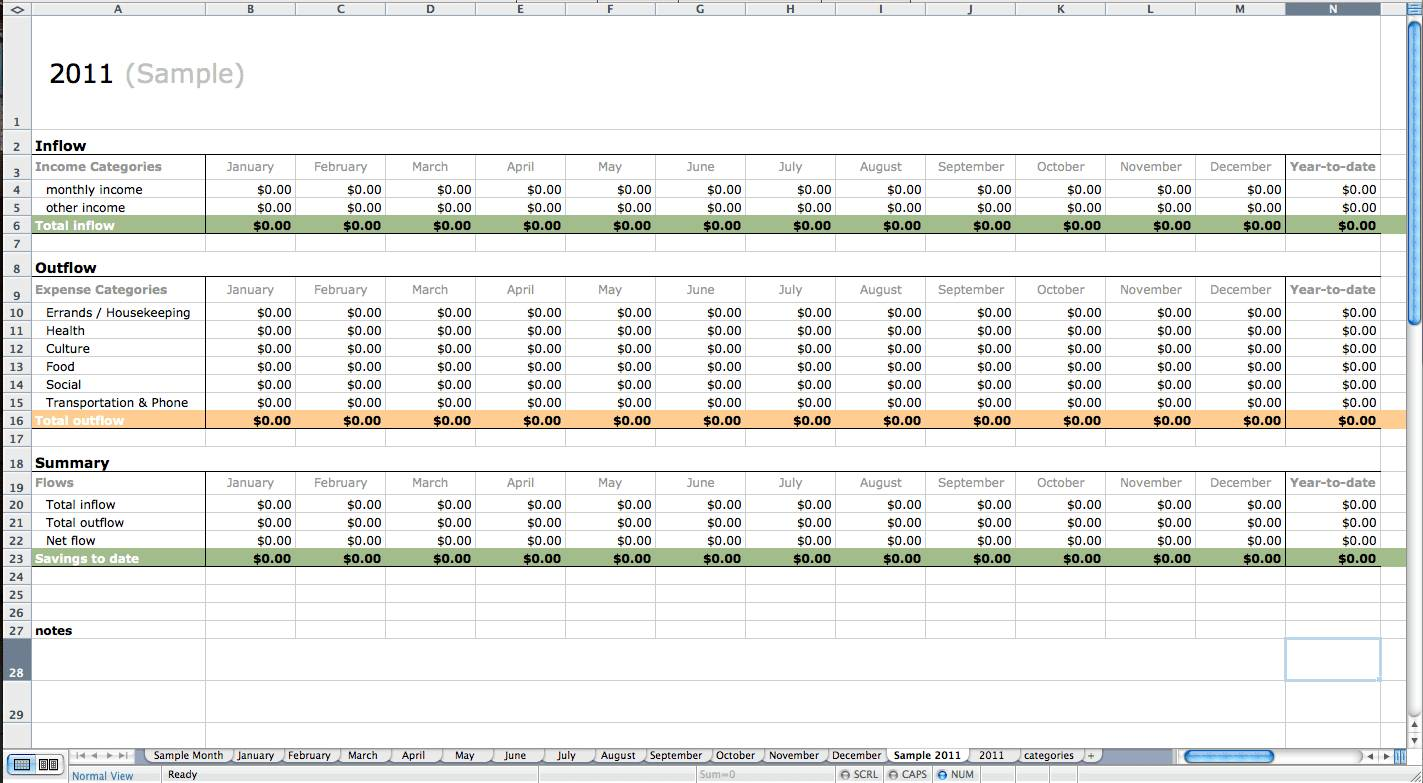 Yearly Expense Report Template Excel