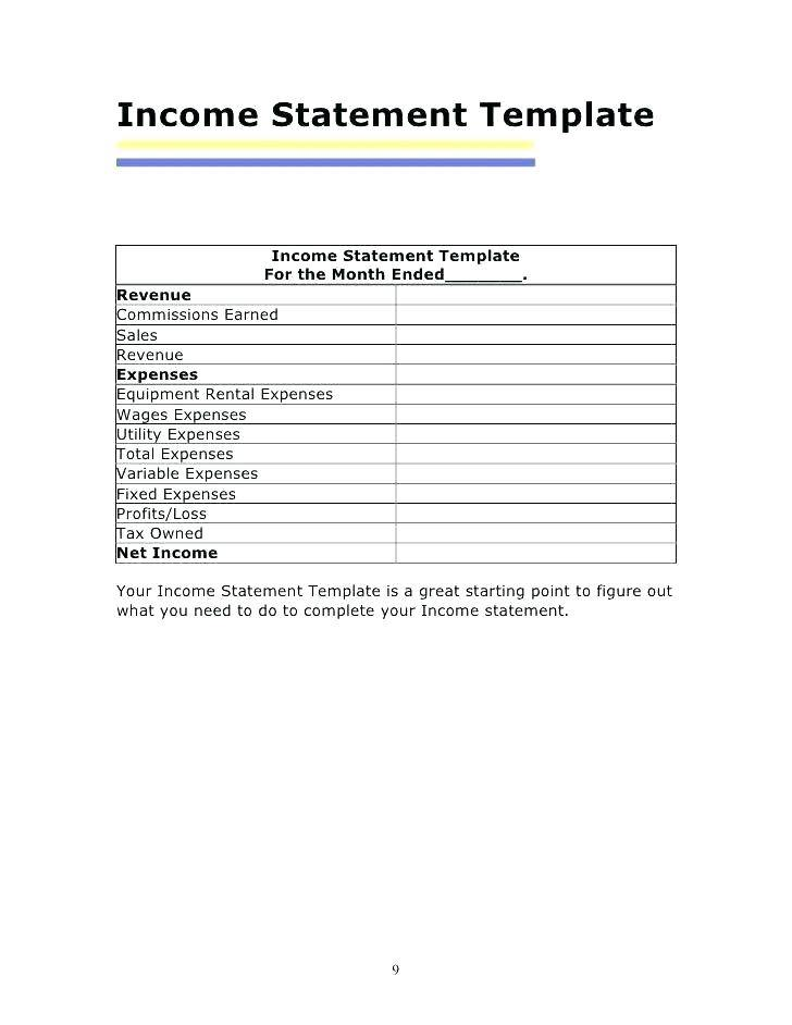 Yearly Profit And Loss Statement Template