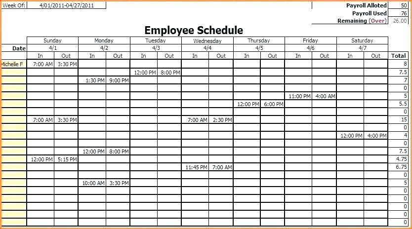 Yearly Rotation Schedule Template