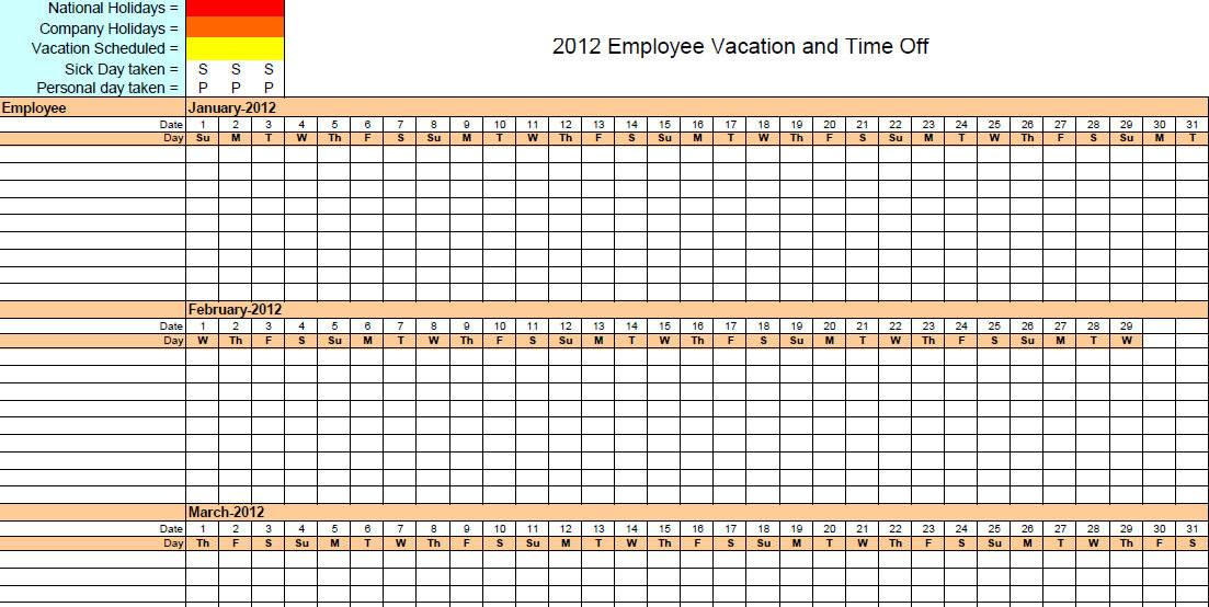 Yearly Vacation Calendar Template