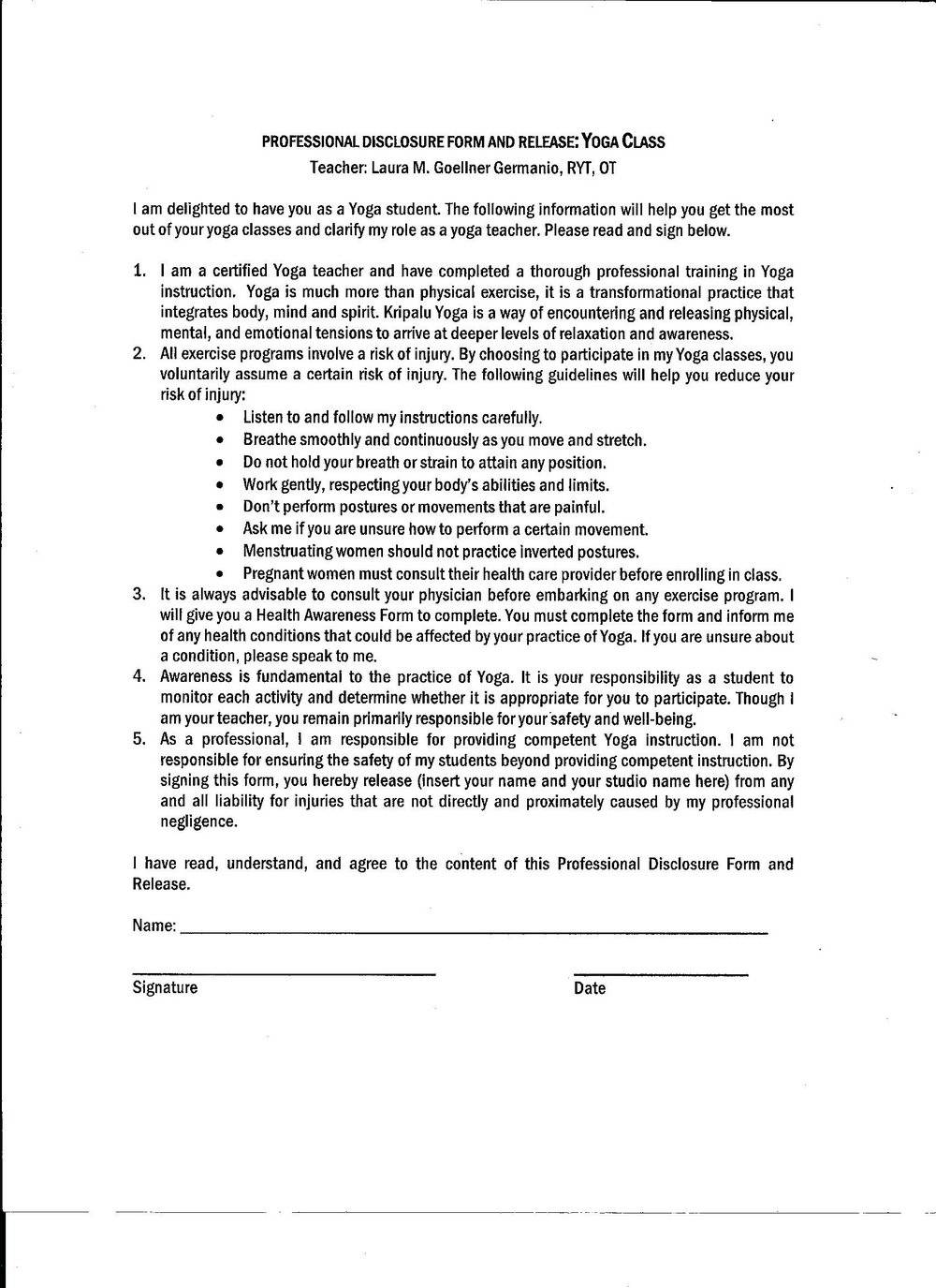 Yoga Waiver Examples