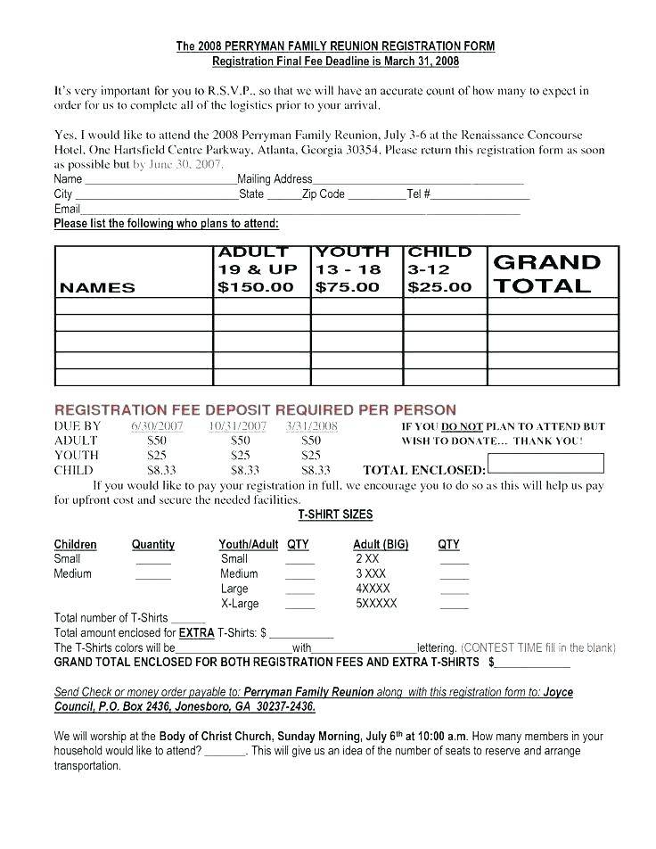 Youth Conference Registration Form Template