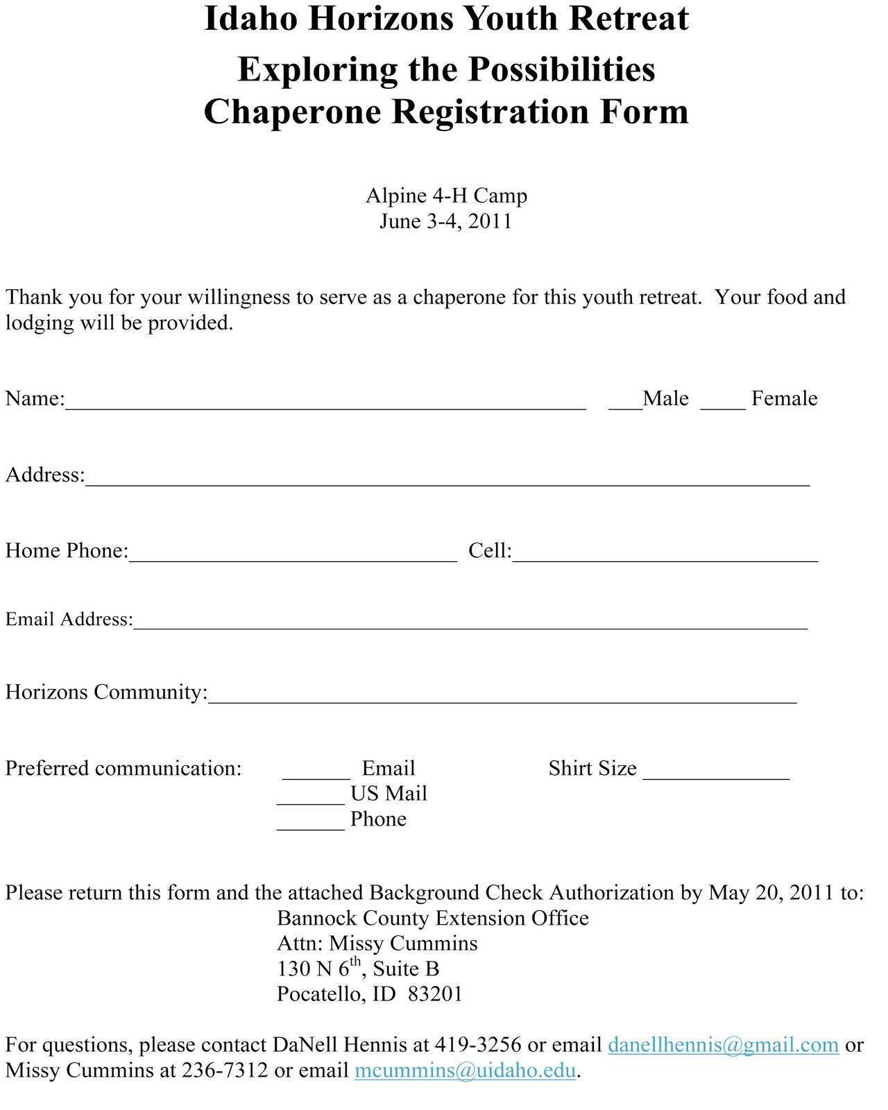 Youth Retreat Registration Form Template