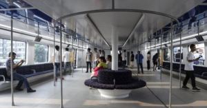Inside the very first Chinese Elevated Bus
