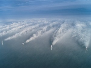 This picture shows the influence of upstream wind turbines over down stream turbines
