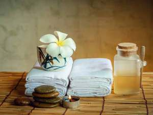 Massage supplies on table