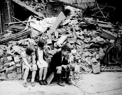 Homeless children during the London Blitz.