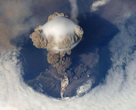 Sarychev Volcano, Matua Island in the Kuril Islands, Russia, 12 June 2009, as seen from the International Space Station (ISS).
