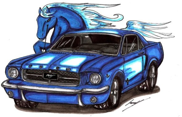 Ford_Mustang_blue_horse_by_Lowrider_Girl