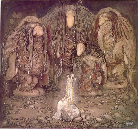 """Look at them,"" troll mother said. ""Look at my sons! You won't find more beautiful trolls on this side of the moon."" illustration for John Bauer, 1915"