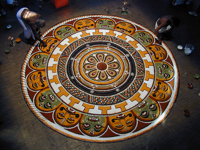 Elaborate Kolam with deity figures, Festival of the Arts of South India, 2001 © Jean-Pierre Dalbéra with CCLicense