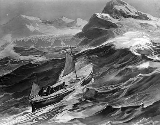 Depiction of the James Caird nearing South Georgia from Ernest Shackleton's book South, 1919. Public Domain Image.