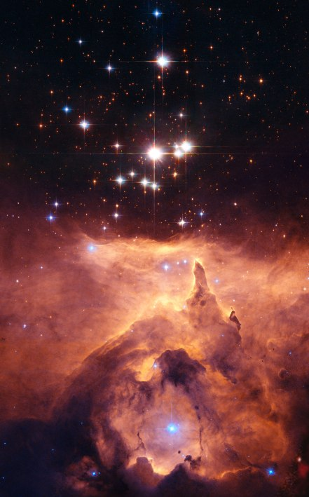 Pismus 24 star cluster in the nebula NGC6357, about 8,000 light years from earth in the Scorpius Constellation.  Credit: NASA, ESA and Jesús Maíz Apellániz (Instituto de Astrofísica de Andalucía, Spain). Acknowledgement: Davide De Martin (ESA/Hubble)