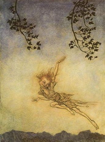 Puck, an illustration from A Midsummer Night's Dream, Arthur Rackham