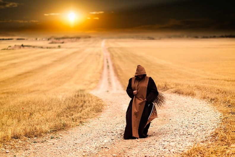 Sunset Path Afternoon Monks Landscape