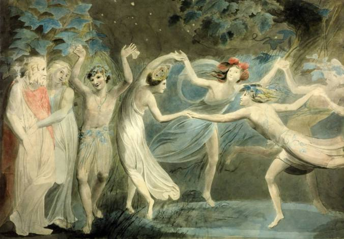 Oberon, Titania and Puck with Fairies Dancing circa 1786 by William Blake 1757-1827