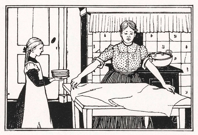 Mom and daughter doing housework by Julie de Graag (1877-1924).