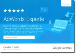 Zertifikat Google AdWords Experte