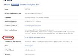 Neue Impressumsrubrik für Facebook-Seiten