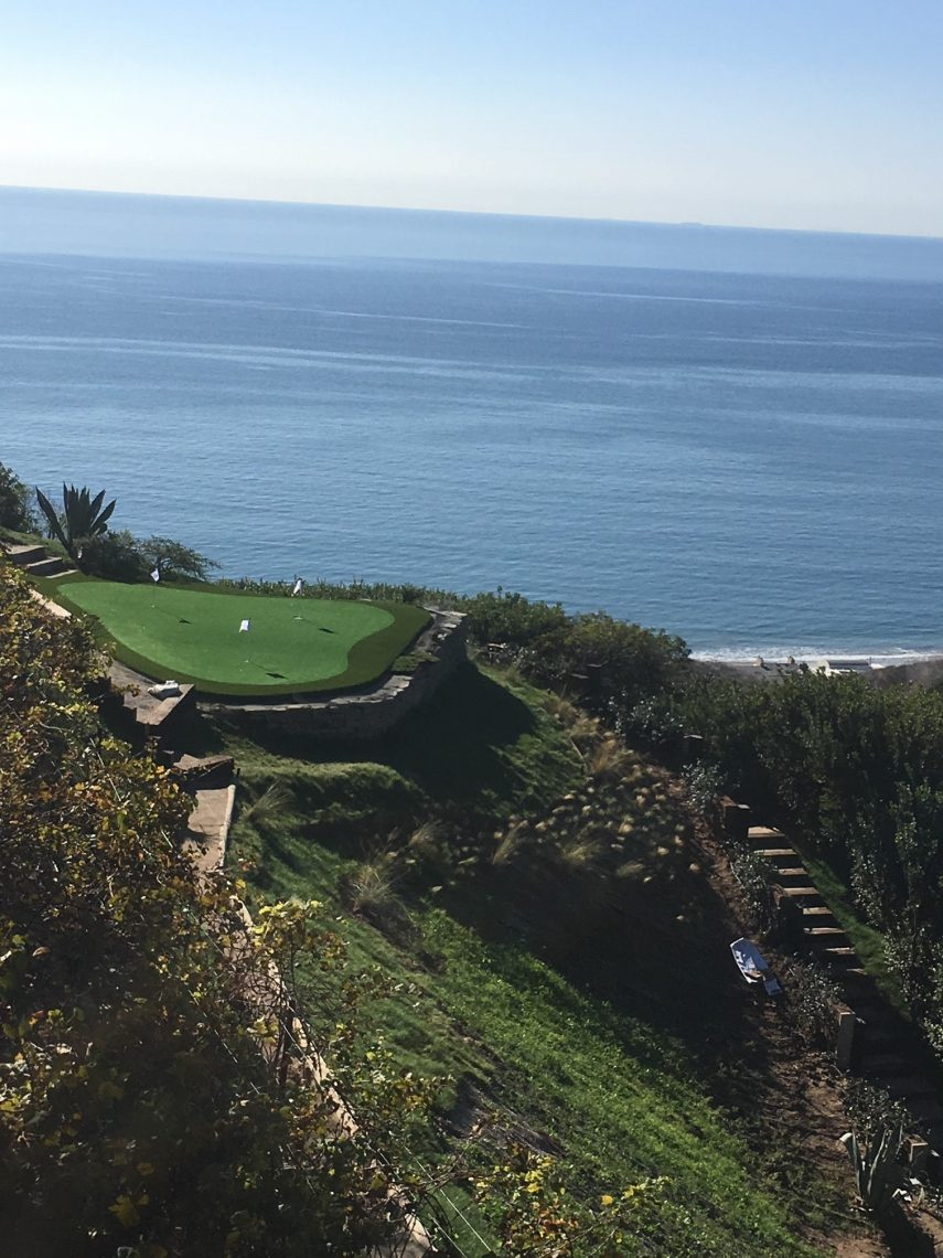 Putting greens with views of the Pacific Ocean in Malibu