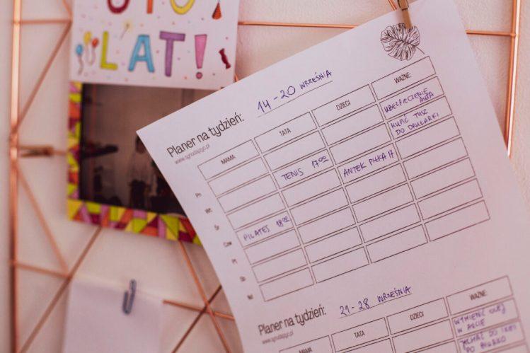 planer rodzinny do druku