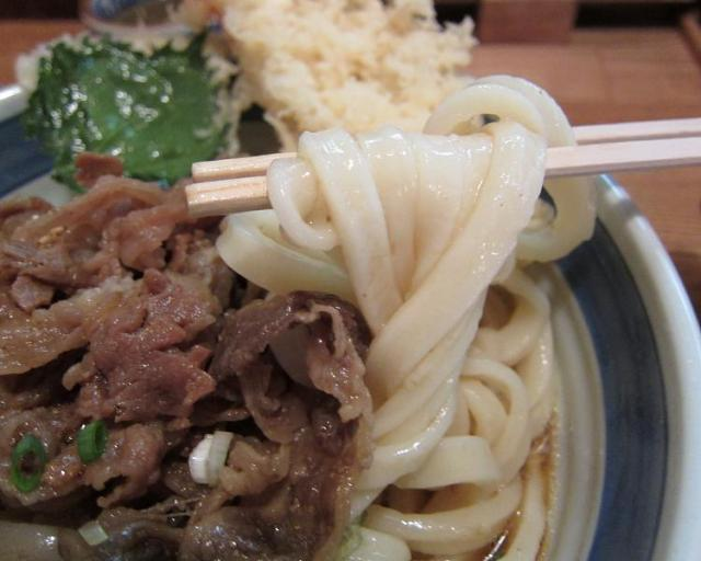 UDON中乃家 えび入り肉ぶっかけ(大盛) 麺アップ