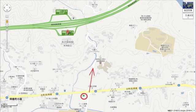 南国SA 下の道からの行き方 地図