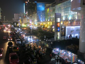 Outside Central World, it was crowded with concert, drinking places and selling