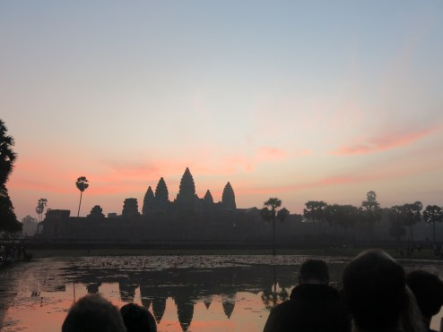 Angkor Wat at dawn. Tourists were waiting for sunrise.