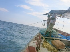 Boat driver in action of pulling fishing net
