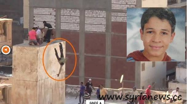 Children thrown off rooftop in Alexandria, Egypt by Morsi supporters