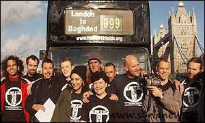 50 anti-war campaigner gathered on 23 January 2003 in London and travelled in a convoy of buses to Baghdad to stand there as human shields against the American invasion.