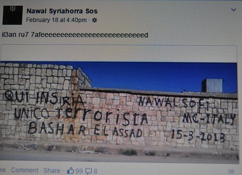 Chutzpah: Non-Syrian illegal alien insults the Syrian people, and their President, Dr. Bashar al Assad, with graffiti written in Italian.