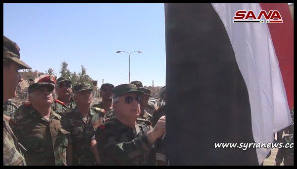 image-SAA Chief of Staff Raises Syrian Arab Republic Flag over As-Sukhnah