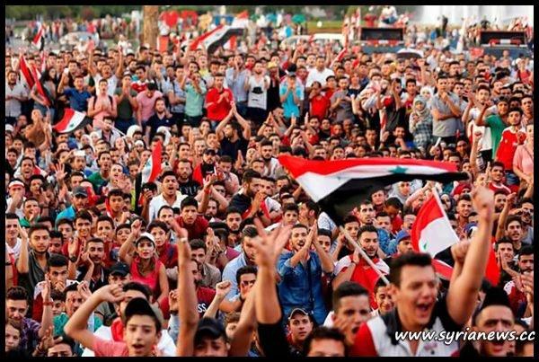 image-Syrians cheering their national football team - Qasioun Eagles