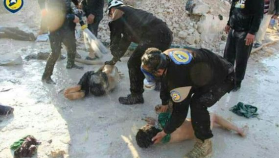 "Khan Sheikhoun chemical attack White Helmets Oscars attacking. Immune to ""sarin."""