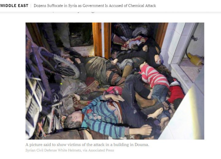 Mass murder for lies about chemical weapons attack.