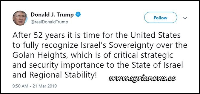 Trump Deadliest Tweet about Golan Heights