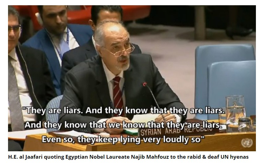 Syrian Ambassador Jaafari addressing the supremacists at the UNSC