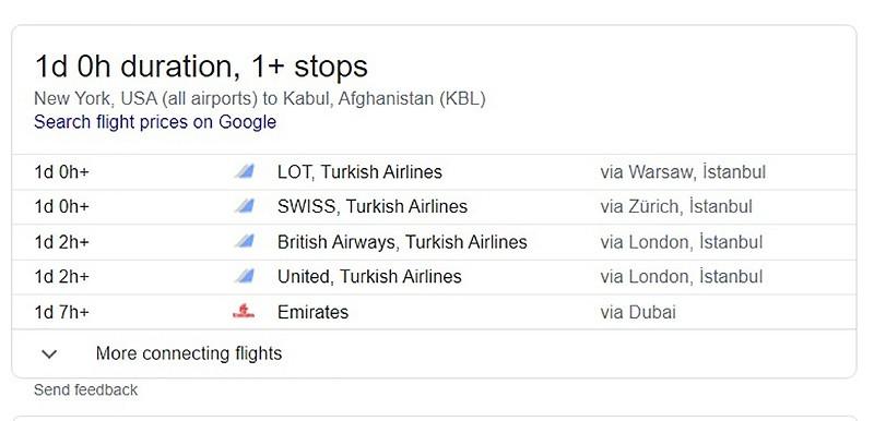 New York to Kabul flight - google search