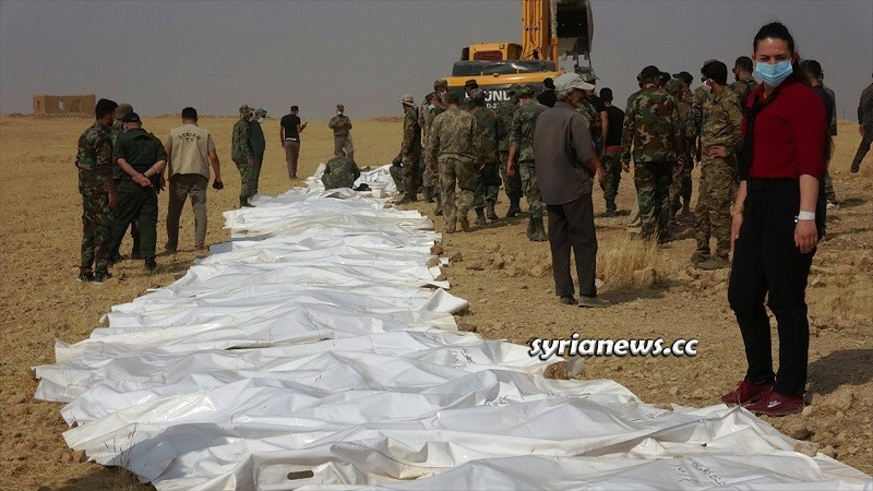 One of the mass graves in Syria, this one had the bodies of 57 SAA soldiers killed by ISIS in 2014 in Raqqa