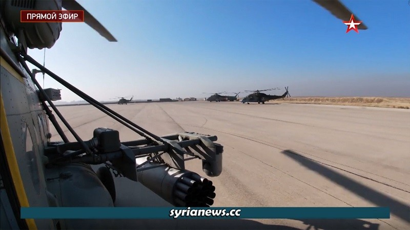 Russian military helicopters comb M4 highway in Idlib