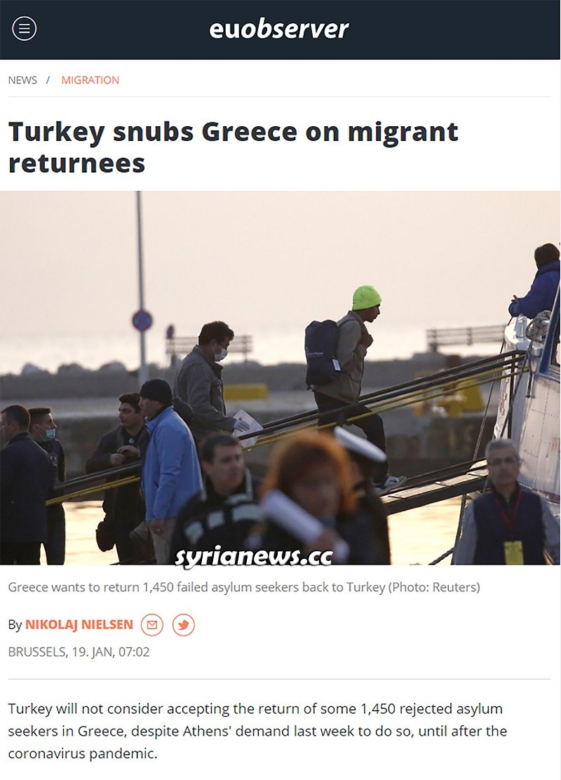 Erdogan refuses to accept the return of refugees from Greece