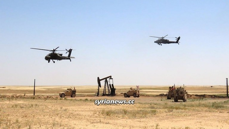 US army helicopter UH-60 Black Hawk in Syria oil thieves