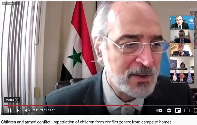 Dr. Bashar al Jaafari addresses the Arria Formula meeting on Children and Armed Conflict